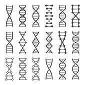 DNA spiral icon. Human genetics code, genom model and bio laboratory string spirals. Genetic code helix, biochemistry dna molecular alterations. Vector isolated icons set