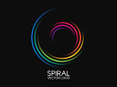 Spiral logo. Round logotype design. Color swirl on black background. Dynamic shape concept. Abstract colorful element. Creative logo. Vector illustration.