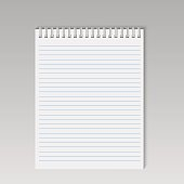 Spiral notepad with lines. Vector.