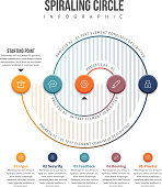 Vector illustration of spiraling circle infographic design element.