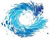 Splash round wave on white background