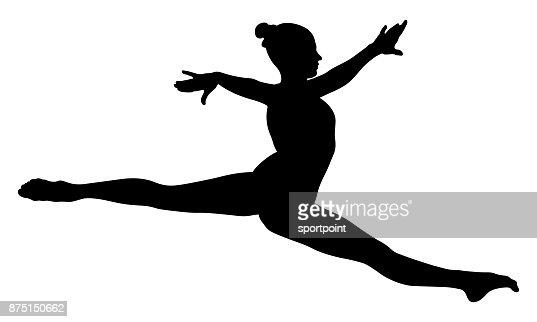 Split jump girl gymnast : stock vector