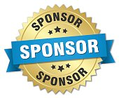 sponsor 3d gold badge with blue ribbon