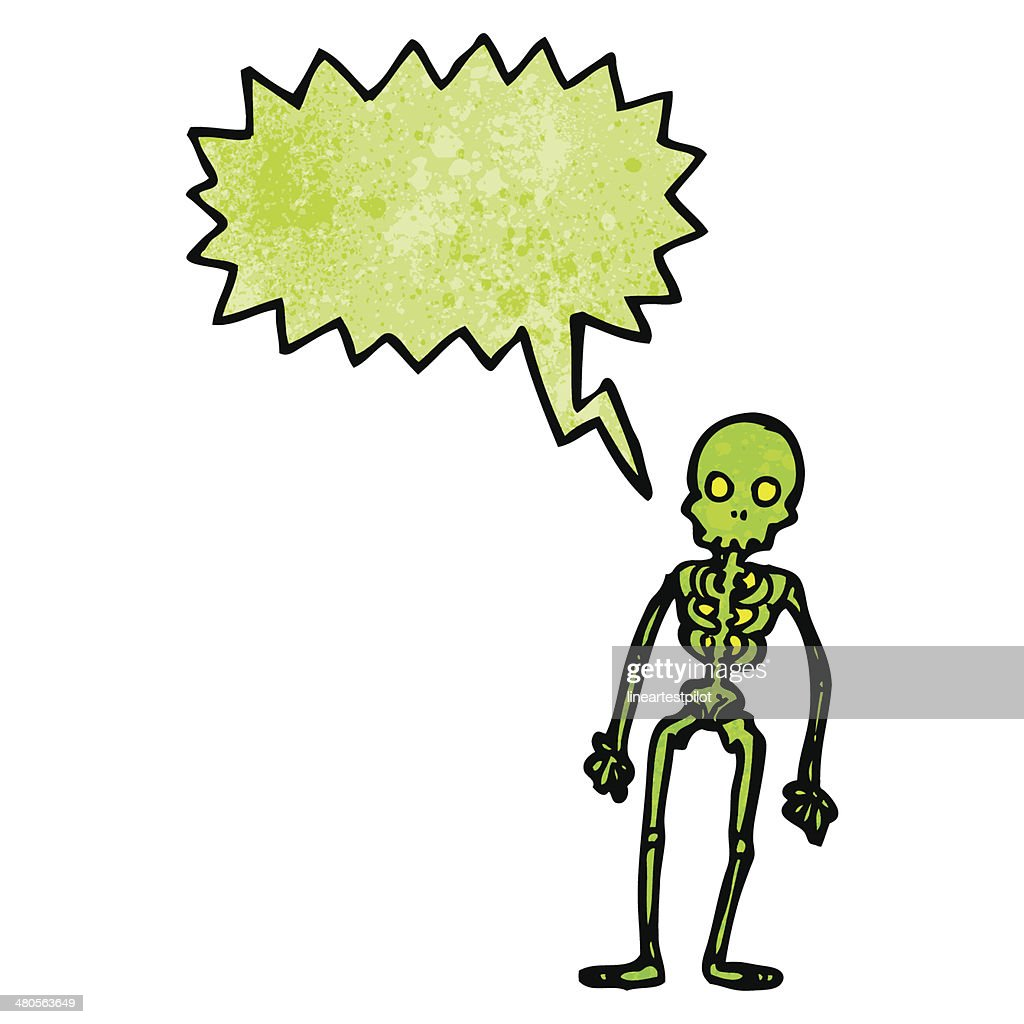 spooky green skeleton cartoon : Vector Art