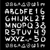 Spooky Hand drawn horror, scary halloween letters and numbers font. marker.Grunge font, Sans serif. Vector design.Isolated on black background. alphabet written with ink, brush. calligraphy, lettering