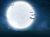Spooky night background with full moon, scary trees and bats silhouettes. Halloween banner with copy space for greetings, promo text or invitation to a party. Vector illustration.