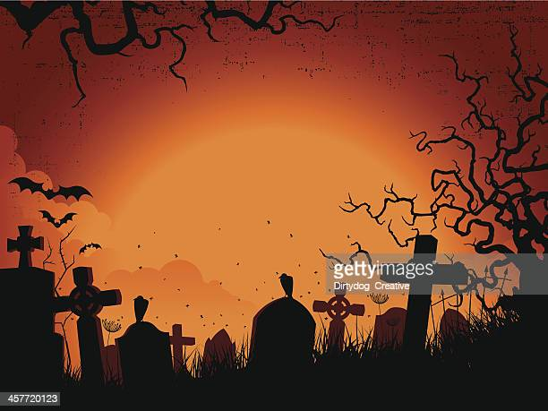 Spooky orange and black Silhouette graveyard background