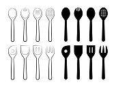 Line Art Vector Illustration of a set of Spoons and their Silhouettes.