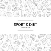 Sport and Diet Banner Template, Healthy Lifestyle, Sports and Fitness Objects Hand Drawn Monochrome Vector Illustration.
