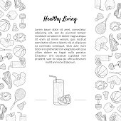 Sport and Diet Banner Template with Place for Text, Healthy Lifestyle, Sports and Fitness Objects Hand Drawn Monochrome Vector Illustration.