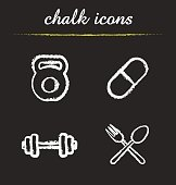 Sport and diet chalk icons set. Vector. Barbell, gym dumbbell, pill, crossed spoon and fork eatery symbol