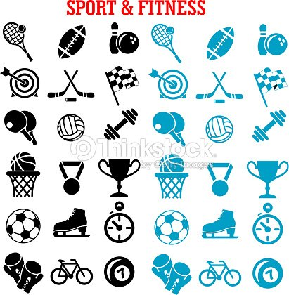 Sport and fitness icons set with items
