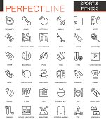 Sport and fitness thin line web icons set. Outline icon design