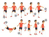 Soccer sport athletes, football players playing, kicking, training and practicing football. Flat design characters.