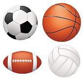 Set of detailed sport balls isolated on white background, vector EPS 10.