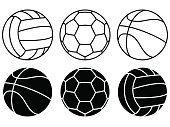 Sport balls set on white background. Vector icons. Football, basketball, volleyball
