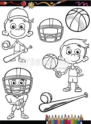 sport boy set cartoon coloring page vector art - Sports Coloring Book