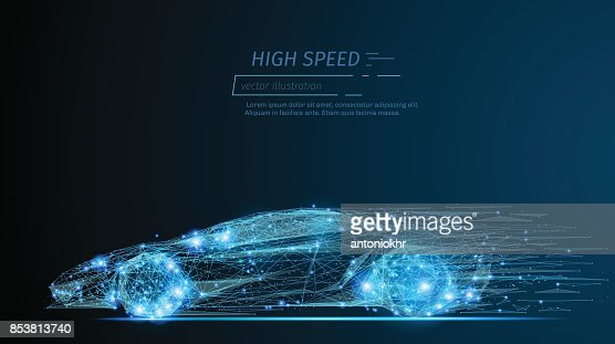 Sport Auto low-Poly blau : Vektorgrafik