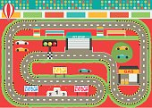 Sport car racing track play mat for children activity and entertainment. Racing competition championship facilities, endless road, stadium environment.
