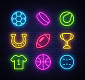 Sport collection icons neon style. Sport set of neon signs. Isolated icons on sports, football, basketball, tennis, baseball. Vector illustration.