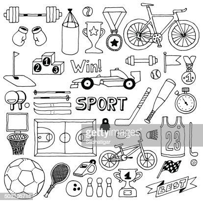 Sport Doodle Set Hand Drawn Vector Illustration Vector Art
