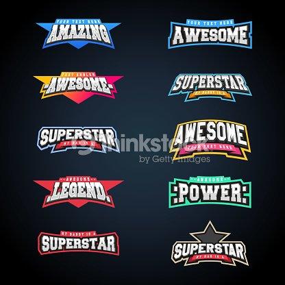 Sport emblem typography set. Super icon for your t-shirt. Mega icontype collection : arte vettoriale