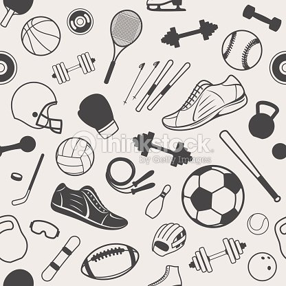 Sport Equipment Background Seamles Pattern Icons stock