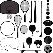 A set of sport equipment which include basketball, tennis, badminton, table tennis, baseball, volleyball, soccer, football, and golf.