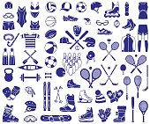 Big set of the vector icons for sport equipment