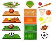 Sport fields, balls and design elements. Football, basketball, rugby, baseball, tennis, soccer. Vector illustration