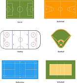 Sport fields marking for soccer, basketball, volleyball, baseball, hockey and badminton, isolated on white