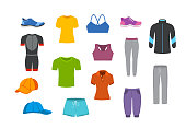 sport fitness clothing graphics set