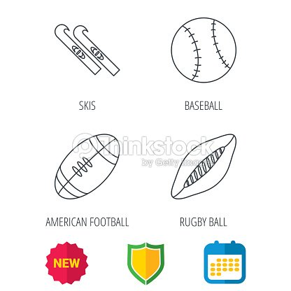 Sport fitness, rugby ball and baseball icons.
