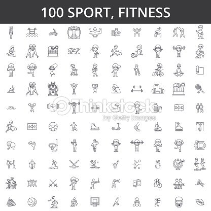 Sport, fitness, soccer, karate, football, hockey, healthy lifestyle, bodybuilding, boxing, baseball, basketball, skiing, swimming line icons, signs. Illustration vector concept. Editable strokes : stock vector
