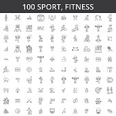 Sport, fitness, soccer, karate, football, hockey, healthy lifestyle, bodybuilding, boxing baseball basketball skiing swimming line icons signs Illustration vector concept Editable strokes