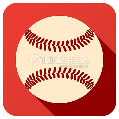 Sport icon with baseball ball in flat style. Vector illustration