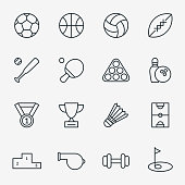 Sport icons in thin line style vector. Set of icon to sport, linear pictogram illustration for sport game