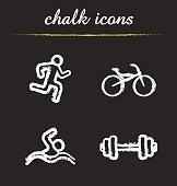 Sport chalk icons set. Vector. Dumbbell, bike, swimmer and runner