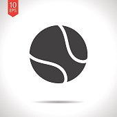 Vector flat black tennis ball icon on white background