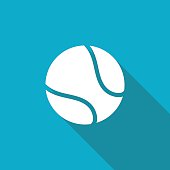 Vector white flat tennis ball icon on blue background