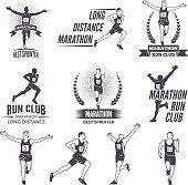 Sport labels at marathon theme for sport teams. Illustrations of athlete isolated. Sport marathon run badge, emblem or label vector