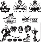 Sport labels for hockey team. Vector badges set for bsport, hockey championship and tournament illustration