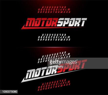スポーツ モダンなアルファベットと数字フォント。モーター スポーツ レースのタイポグラフィのイタリック体のフォントです。ベクトルのイラストレーター : ベクトルアート