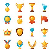 Sport or business trophy award icons set.