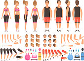Sport people animation. Fitness male and female workout mascots body parts vector creation kit. Illustration of people girl and boy body, trainer creation man and woman physical strong