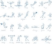 sport people hand drawn vector symbol set