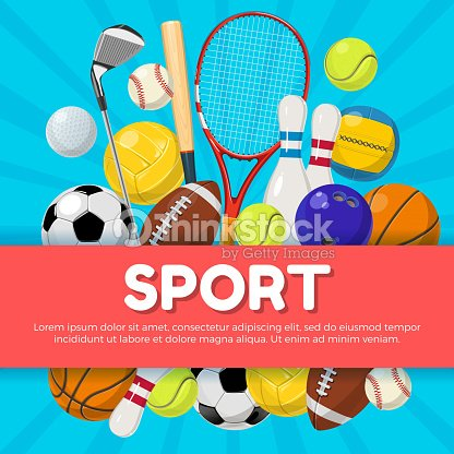 Sport poster design of different equipment on background and place for your text. Vector illustrations