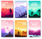 Sport rest day vector brochure cards set.  Tourism on nature template of flyer, magazines, poster, book cover, banners. Active lifestyle invitation concept background. Layout illustration modern