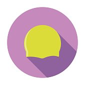 Sport swimming cap icon. This flat icon can be used for the web.