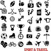 Black sport and travel icons set with ball, airplane, passport, camera, luggage, sun, medal, trophy, flag, stopwatch, target, dumbbell, shoes skate diving mask cocktail boat umbrella beach anchor rack